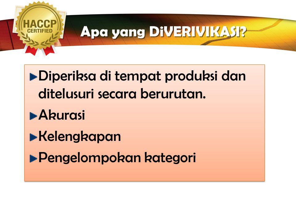 LOGO Tahap 5: Verifikasi Diagram Alir Ditempat Dikonfirmasi oleh personel yang mempunyai pengetahuan tentang proses produksi Tim HACCP harus mengkonfi