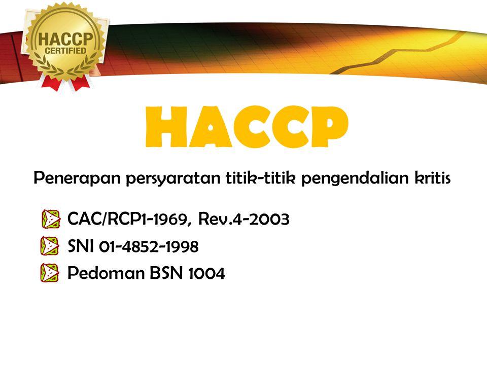 LOGO HACCP Penerapan persyaratan titik-titik pengendalian kritis CAC/RCP1-1969, Rev.4-2003 SNI 01-4852-1998 Pedoman BSN 1004