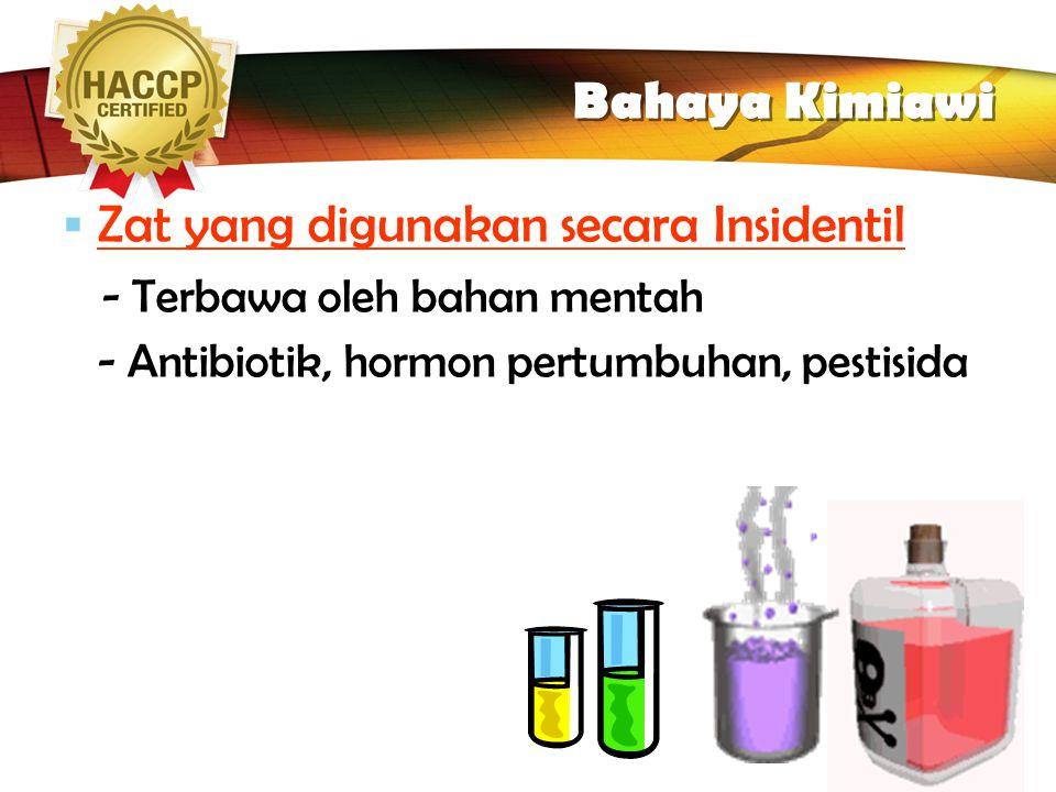 LOGO Chemical Hazard ( Bahaya Kimiawi )  Tiga Jenis Zat Kimia yang berbahaya :  Zat Kimia yang penggunaanya terkendali ( nitrit, fosfat ): - Ada ket