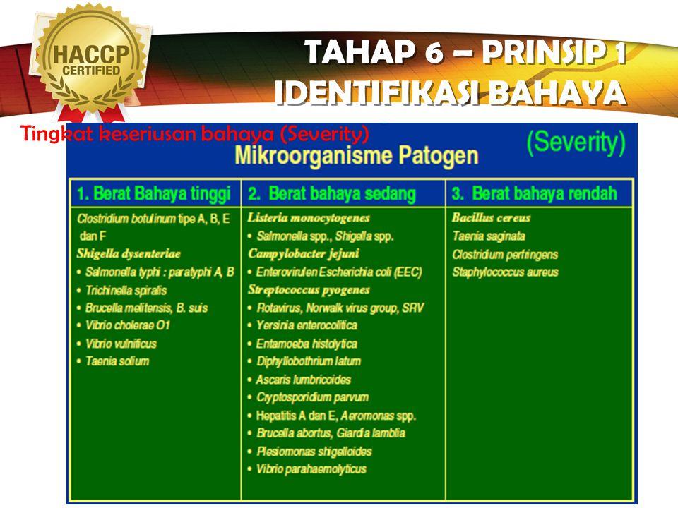 LOGO TAHAP 6 – PRINSIP 1 IDENTIFIKASI BAHAYA Tingkat keseriusan bahaya (Severity)  keseriusan bahaya dapat ditetapkan dengan melihat dampaknya terhad