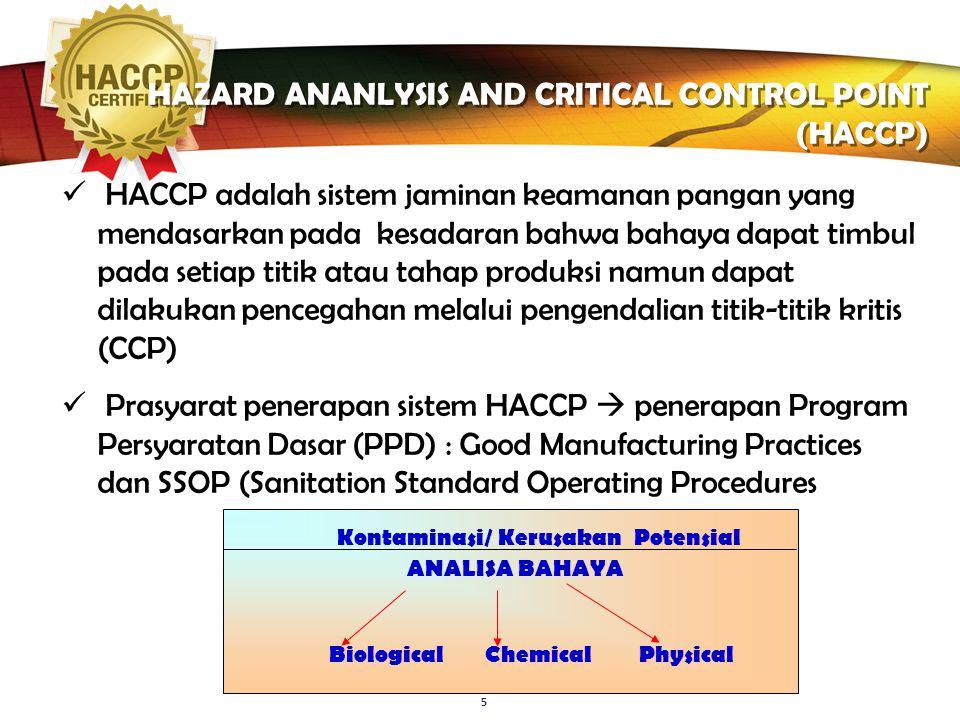 LOGO 5 HAZARD ANANLYSIS AND CRITICAL CONTROL POINT (HACCP) Kontaminasi/ Kerusakan Potensial ANALISA BAHAYA Biological Chemical Physical HACCP adalah sistem jaminan keamanan pangan yang mendasarkan pada kesadaran bahwa bahaya dapat timbul pada setiap titik atau tahap produksi namun dapat dilakukan pencegahan melalui pengendalian titik-titik kritis (CCP) Prasyarat penerapan sistem HACCP  penerapan Program Persyaratan Dasar (PPD) : Good Manufacturing Practices dan SSOP (Sanitation Standard Operating Procedures