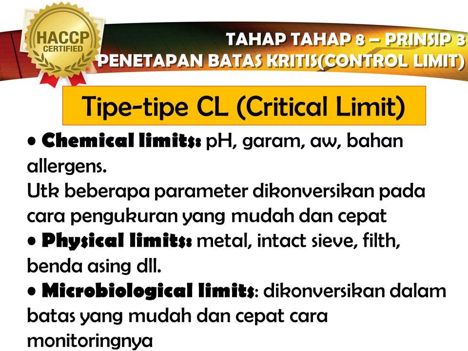 LOGO TAHAP TAHAP 8 – PRINSIP 3 PENETAPAN BATAS KRITIS(CONTROL LIMIT) TAHAP TAHAP 8 – PRINSIP 3 PENETAPAN BATAS KRITIS(CONTROL LIMIT) Apabila HACCP dis