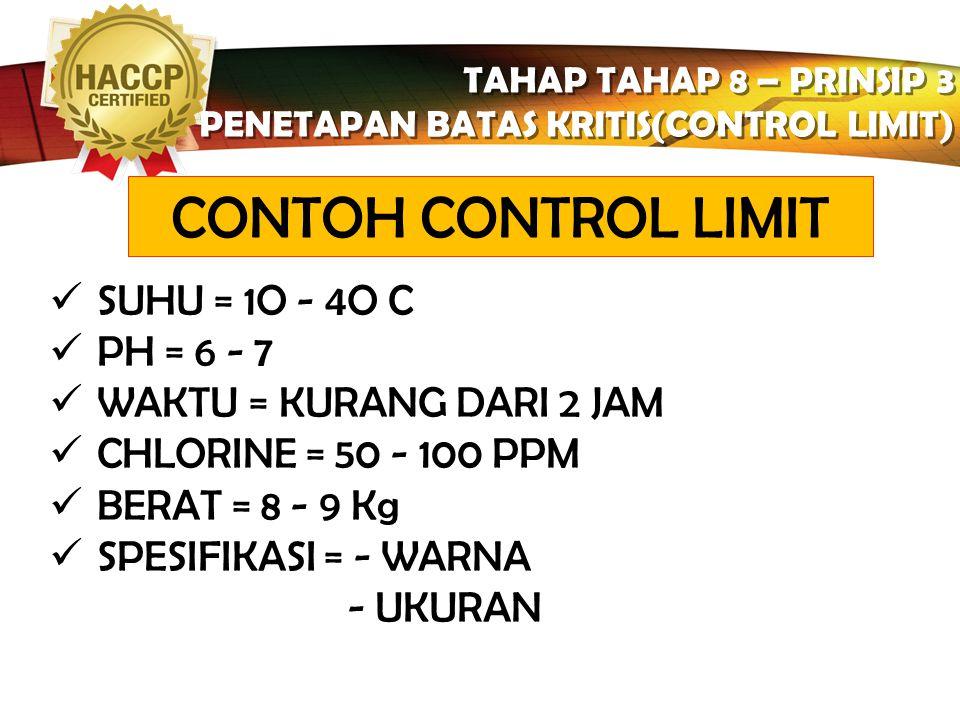 LOGO TAHAP TAHAP 8 – PRINSIP 3 PENETAPAN BATAS KRITIS(CONTROL LIMIT) TAHAP TAHAP 8 – PRINSIP 3 PENETAPAN BATAS KRITIS(CONTROL LIMIT) Tipe-tipe CL (Cri