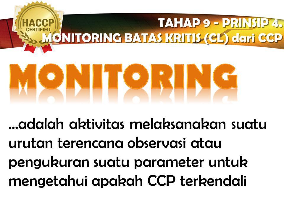 LOGO  Pengukuran/observasi terjadwal terhadap CL setiap CCP  Prosedur monitoring harus bisa mendeteksi tidak terkendalinya CCP  Monitoring seharusn