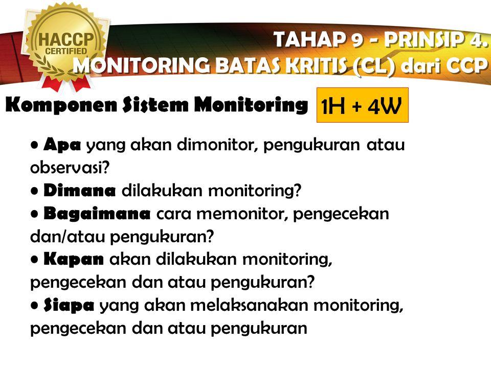 LOGO TAHAP 9 - PRINSIP 4. MONITORING BATAS KRITIS (CL) dari CCP TAHAP 9 - PRINSIP 4. MONITORING BATAS KRITIS (CL) dari CCP...adalah aktivitas melaksan