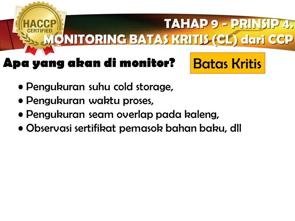 LOGO Komponen Sistem Monitoring TAHAP 9 - PRINSIP 4. MONITORING BATAS KRITIS (CL) dari CCP TAHAP 9 - PRINSIP 4. MONITORING BATAS KRITIS (CL) dari CCP