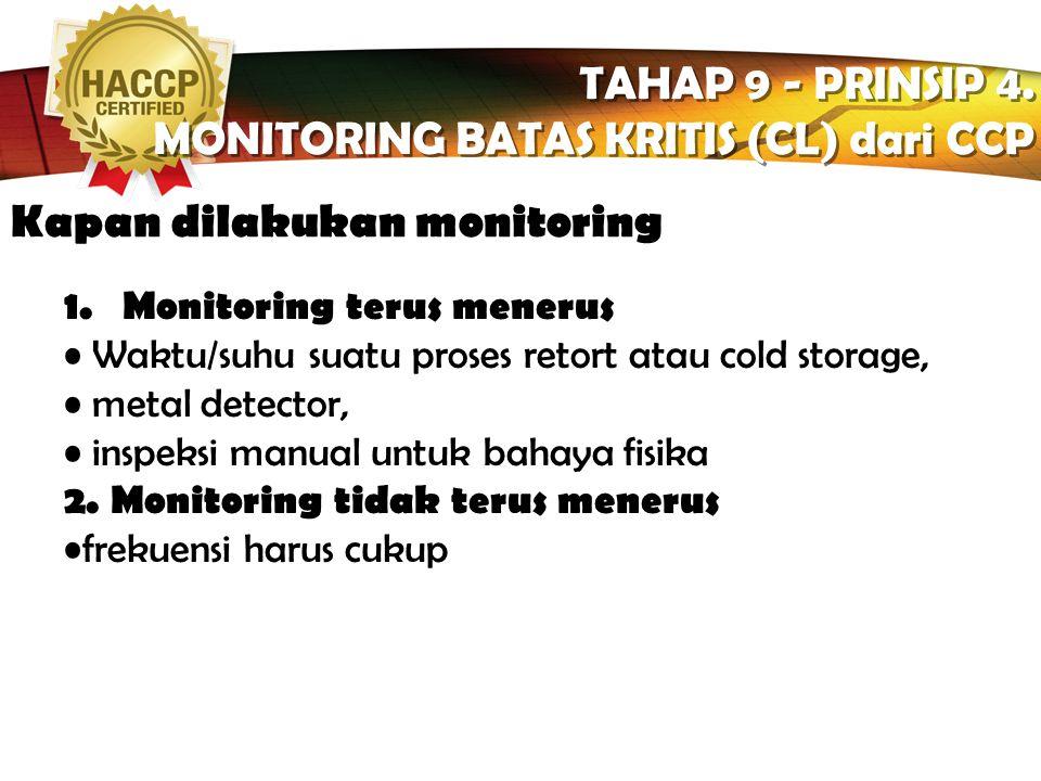 LOGO Bagaimana cara memonitor TAHAP 9 - PRINSIP 4. MONITORING BATAS KRITIS (CL) dari CCP TAHAP 9 - PRINSIP 4. MONITORING BATAS KRITIS (CL) dari CCP Ce