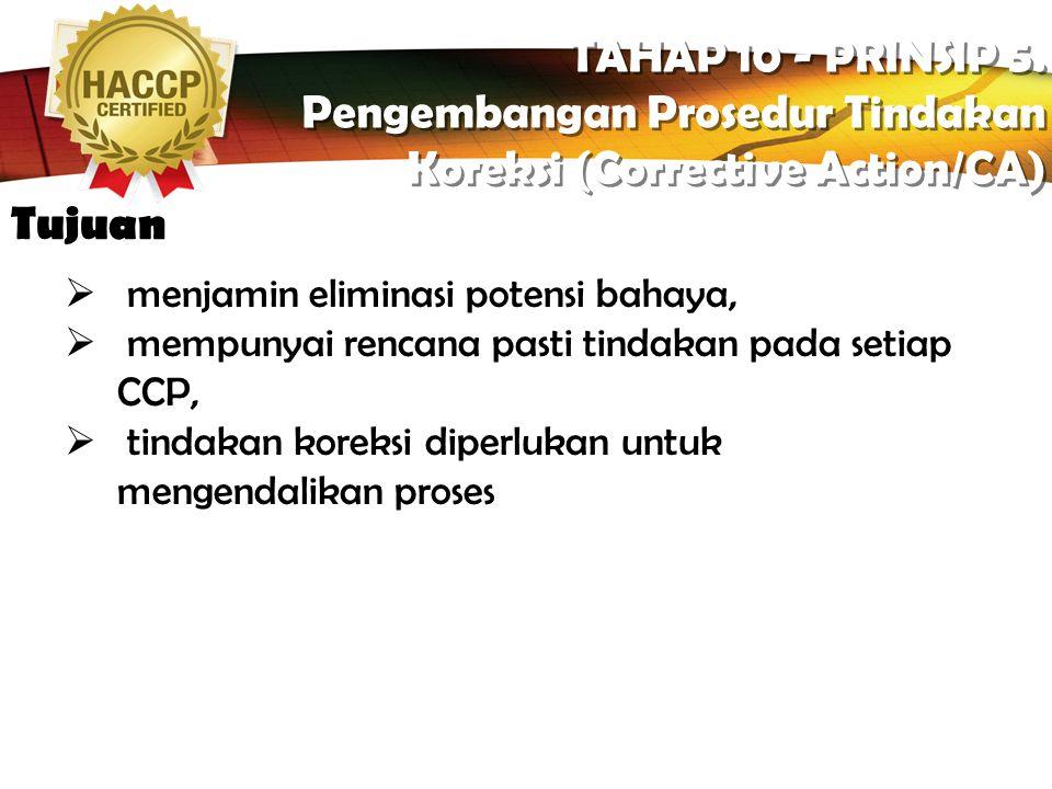 LOGO Apa itu? TAHAP 10 - PRINSIP 5. Pengembangan Prosedur Tindakan Koreksi (Corrective Action/CA) TAHAP 10 - PRINSIP 5. Pengembangan Prosedur Tindakan