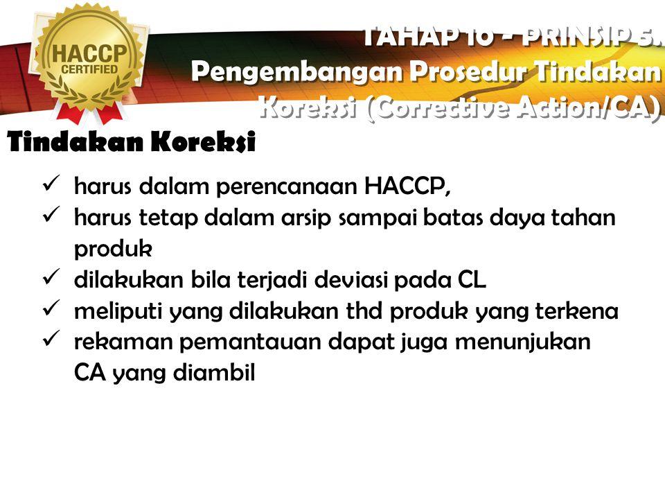 LOGO Tujuan TAHAP 10 - PRINSIP 5. Pengembangan Prosedur Tindakan Koreksi (Corrective Action/CA) TAHAP 10 - PRINSIP 5. Pengembangan Prosedur Tindakan K