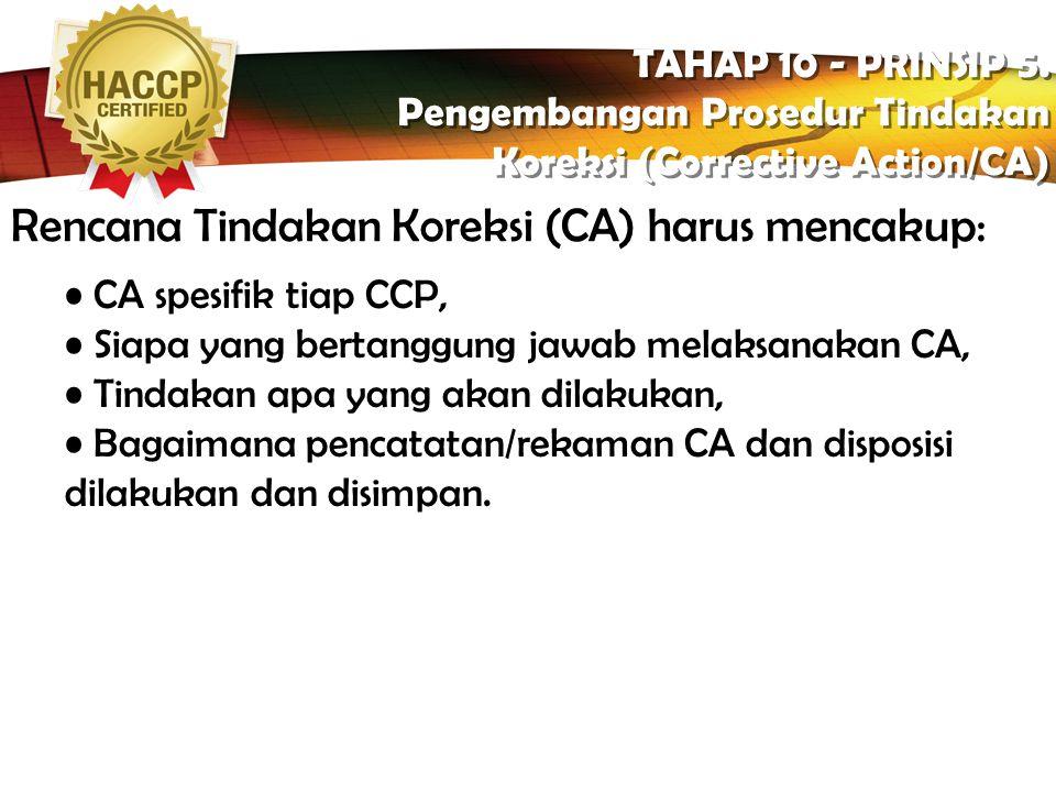 LOGO Tindakan Koreksi TAHAP 10 - PRINSIP 5. Pengembangan Prosedur Tindakan Koreksi (Corrective Action/CA) TAHAP 10 - PRINSIP 5. Pengembangan Prosedur