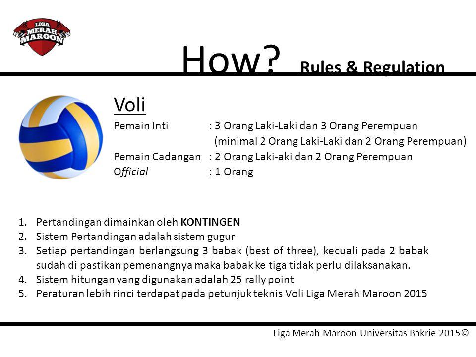Liga Merah Maroon Universitas Bakrie 2015© How? Rules & Regulation Voli Pemain Inti: 3 Orang Laki-Laki dan 3 Orang Perempuan (minimal 2 Orang Laki-Lak