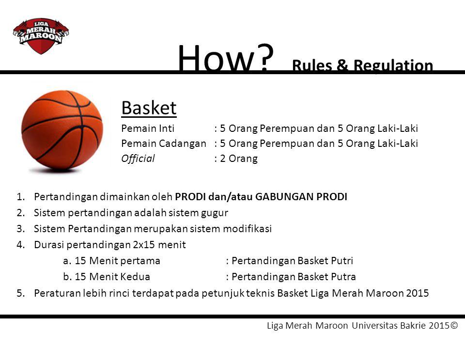 Liga Merah Maroon Universitas Bakrie 2015© How? Rules & Regulation Basket Pemain Inti: 5 Orang Perempuan dan 5 Orang Laki-Laki Pemain Cadangan: 5 Oran