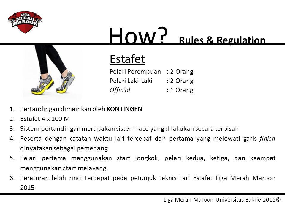 Liga Merah Maroon Universitas Bakrie 2015© How? Rules & Regulation Estafet Pelari Perempuan: 2 Orang Pelari Laki-Laki: 2 Orang Official: 1 Orang 1.Per