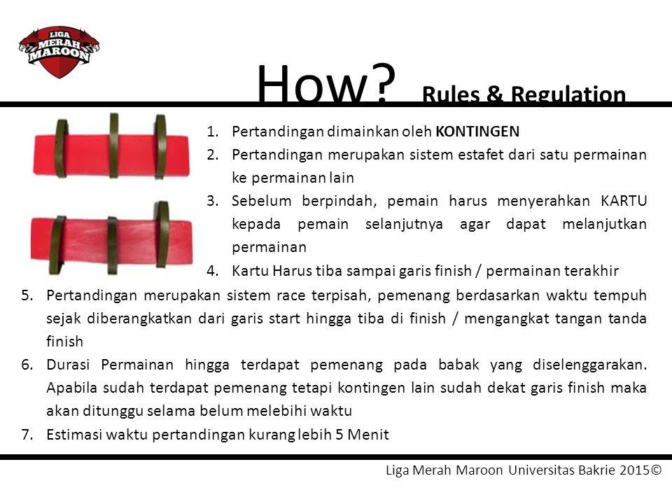 Liga Merah Maroon Universitas Bakrie 2015© How? Rules & Regulation 1.Pertandingan dimainkan oleh KONTINGEN 2.Pertandingan merupakan sistem estafet dar