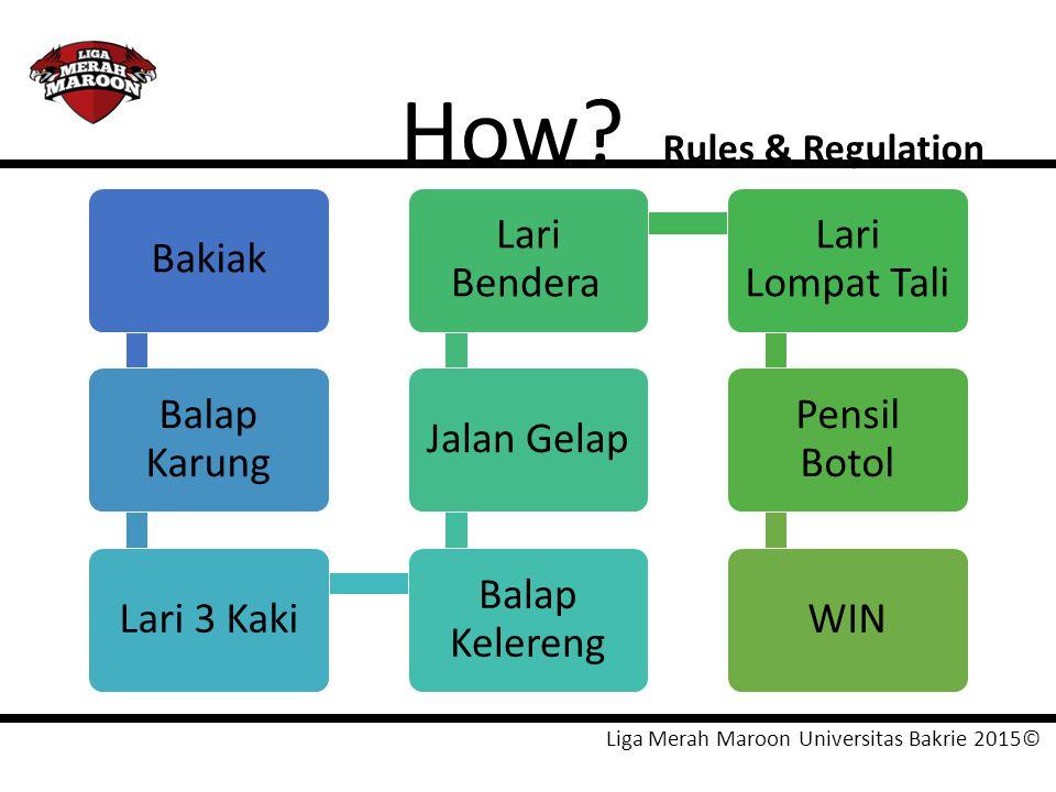 Liga Merah Maroon Universitas Bakrie 2015© How? Rules & Regulation Bakiak Balap Karung Lari 3 Kaki Balap Kelereng Jalan Gelap Lari Bendera Lari Lompat