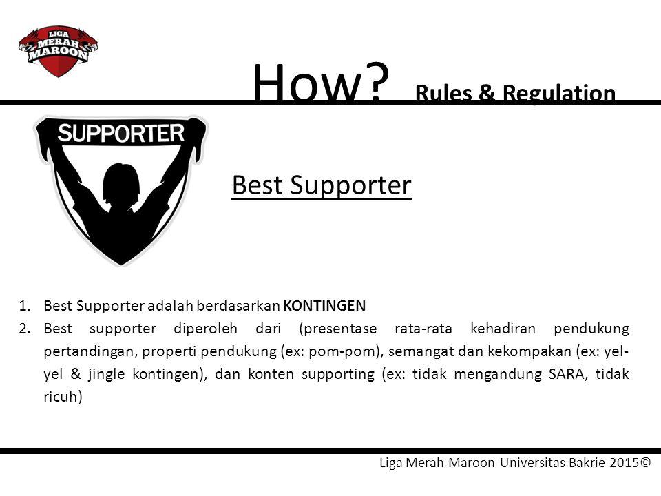 Liga Merah Maroon Universitas Bakrie 2015© How? Rules & Regulation Best Supporter 1.Best Supporter adalah berdasarkan KONTINGEN 2.Best supporter diper