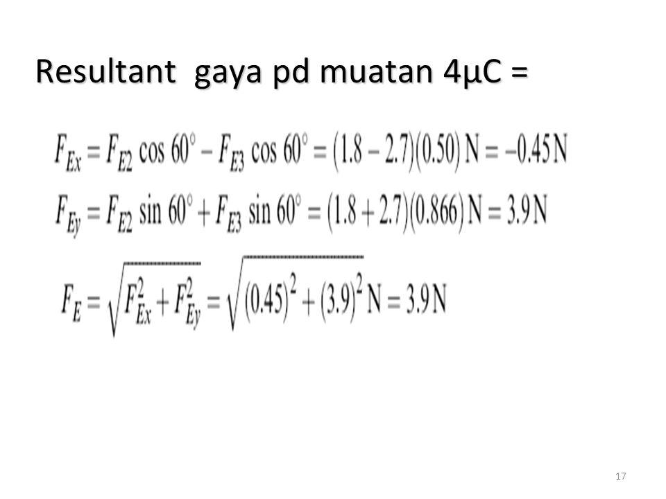 17 Resultant gaya pd muatan 4µC =