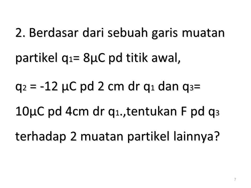 7 2. Berdasar dari sebuah garis muatan partikel q 1 = 8µC pd titik awal, q 2 = -12 µC pd 2 cm dr q 1 dan q 3 = 10µC pd 4cm dr q 1.,tentukan F pd q 3 t