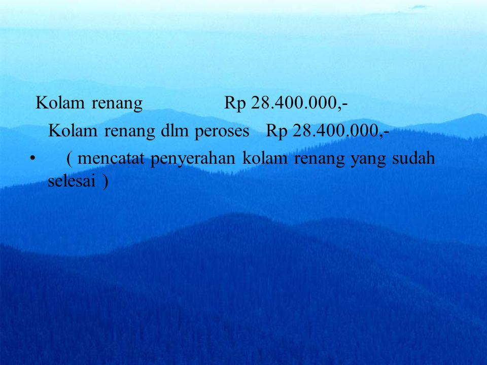 Kolam renangRp 28.400.000,- Kolam renang dlm peroses Rp 28.400.000,- ( mencatat penyerahan kolam renang yang sudah selesai )