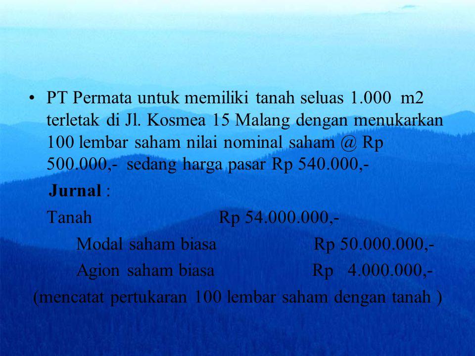 PT Permata untuk memiliki tanah seluas 1.000 m2 terletak di Jl. Kosmea 15 Malang dengan menukarkan 100 lembar saham nilai nominal saham @ Rp 500.000,-