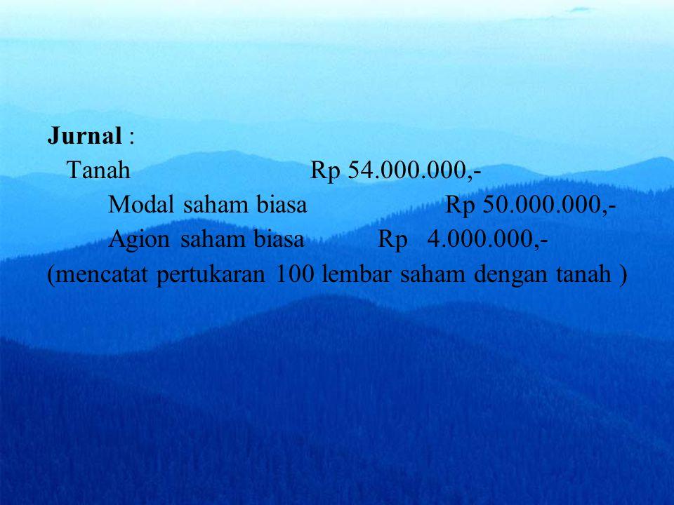 Jurnal : Tanah Rp 54.000.000,- Modal saham biasa Rp 50.000.000,- Agion saham biasaRp 4.000.000,- (mencatat pertukaran 100 lembar saham dengan tanah )