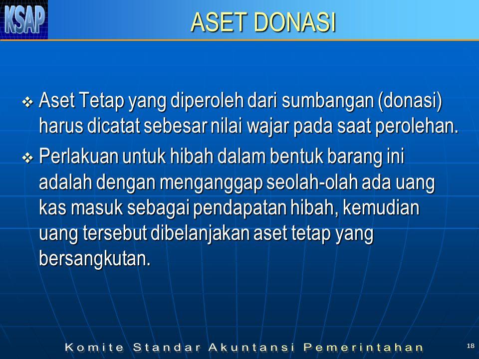 18 ASET DONASI  Aset Tetap yang diperoleh dari sumbangan (donasi) harus dicatat sebesar nilai wajar pada saat perolehan.