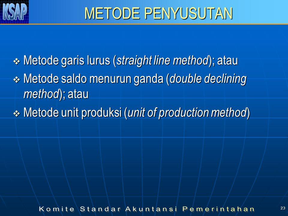 23 METODE PENYUSUTAN  Metode garis lurus ( straight line method ); atau  Metode saldo menurun ganda ( double declining method ); atau  Metode unit produksi ( unit of production method )