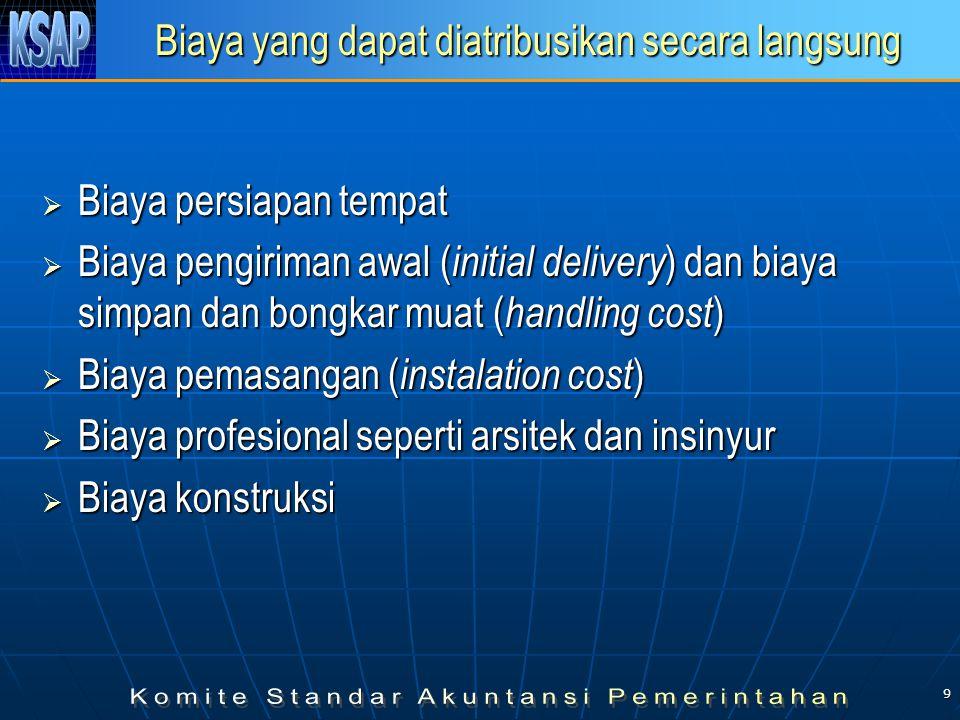 9 Biaya yang dapat diatribusikan secara langsung  Biaya persiapan tempat  Biaya pengiriman awal ( initial delivery ) dan biaya simpan dan bongkar muat ( handling cost )  Biaya pemasangan ( instalation cost )  Biaya profesional seperti arsitek dan insinyur  Biaya konstruksi