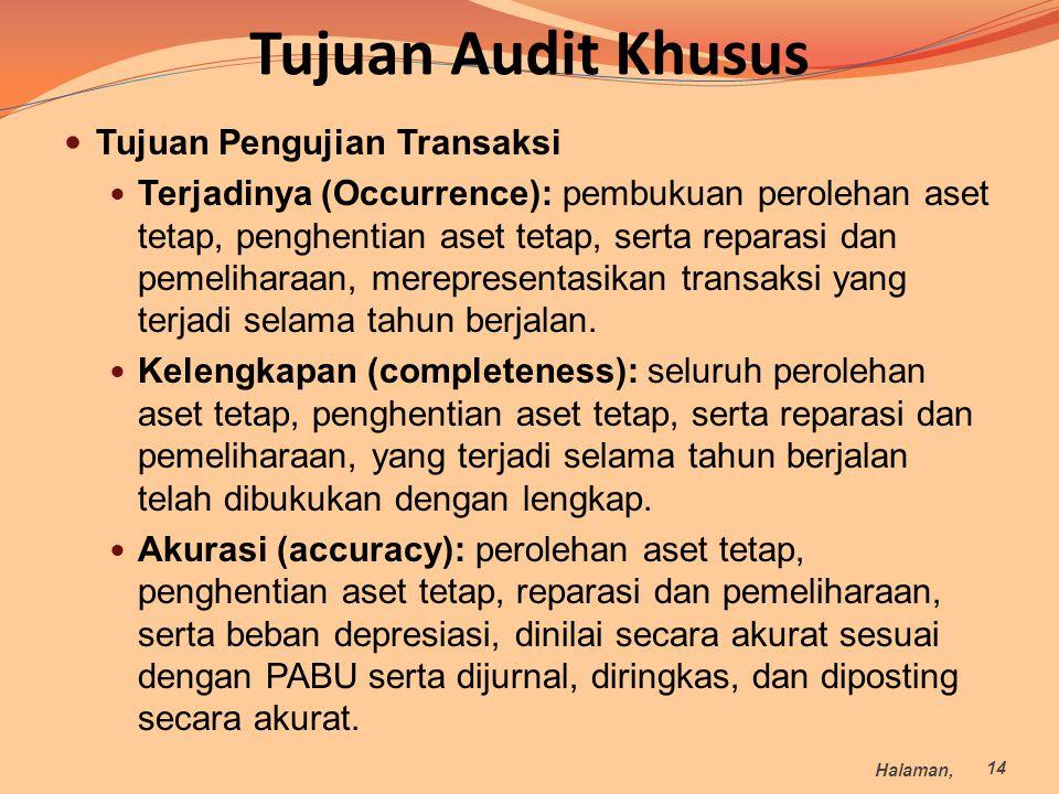 Tujuan Audit Khusus Tujuan Pengujian Transaksi Terjadinya (Occurrence): pembukuan perolehan aset tetap, penghentian aset tetap, serta reparasi dan pem