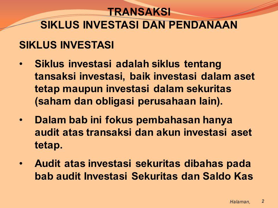 TRANSAKSI SIKLUS INVESTASI DAN PENDANAAN SIKLUS INVESTASI Siklus investasi adalah siklus tentang tansaksi investasi, baik investasi dalam aset tetap m