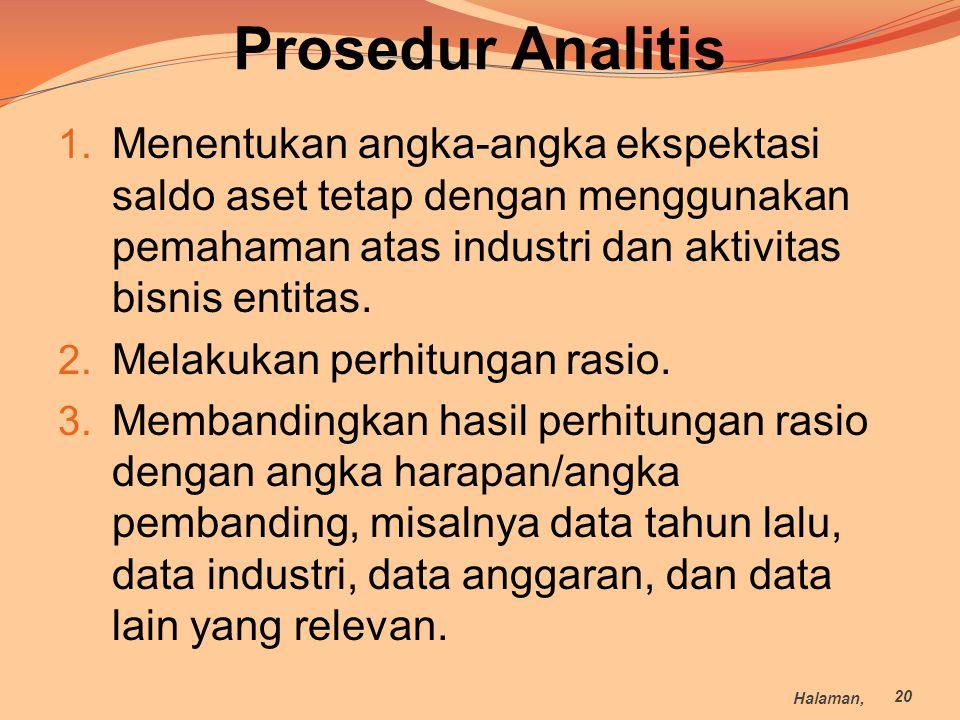 Prosedur Analitis 1. Menentukan angka-angka ekspektasi saldo aset tetap dengan menggunakan pemahaman atas industri dan aktivitas bisnis entitas. 2. Me