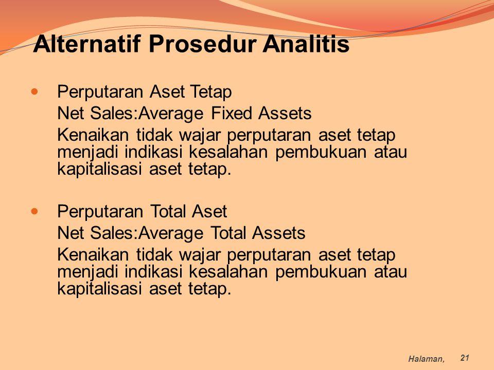 Perputaran Aset Tetap Net Sales:Average Fixed Assets Kenaikan tidak wajar perputaran aset tetap menjadi indikasi kesalahan pembukuan atau kapitalisasi