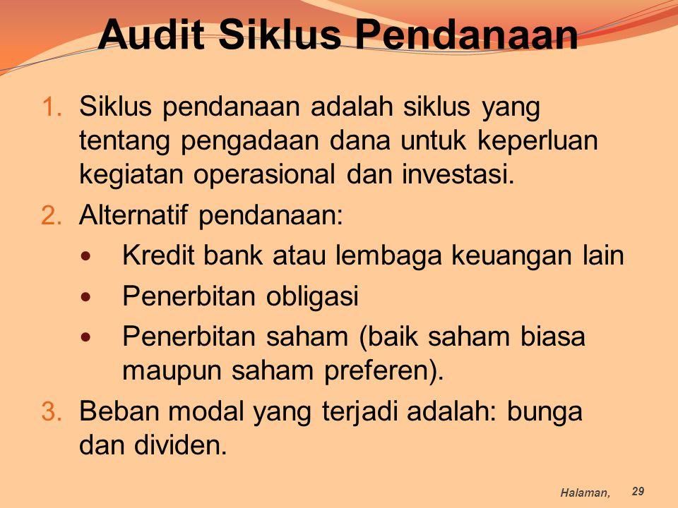 Audit Siklus Pendanaan 1. Siklus pendanaan adalah siklus yang tentang pengadaan dana untuk keperluan kegiatan operasional dan investasi. 2. Alternatif