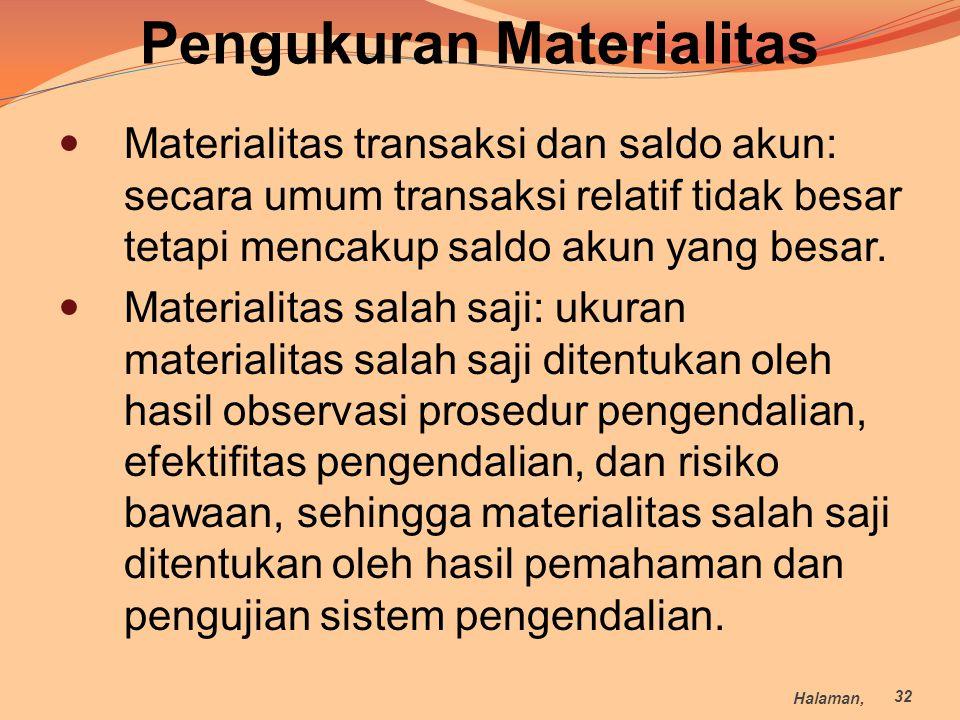 Materialitas transaksi dan saldo akun: secara umum transaksi relatif tidak besar tetapi mencakup saldo akun yang besar. Materialitas salah saji: ukura