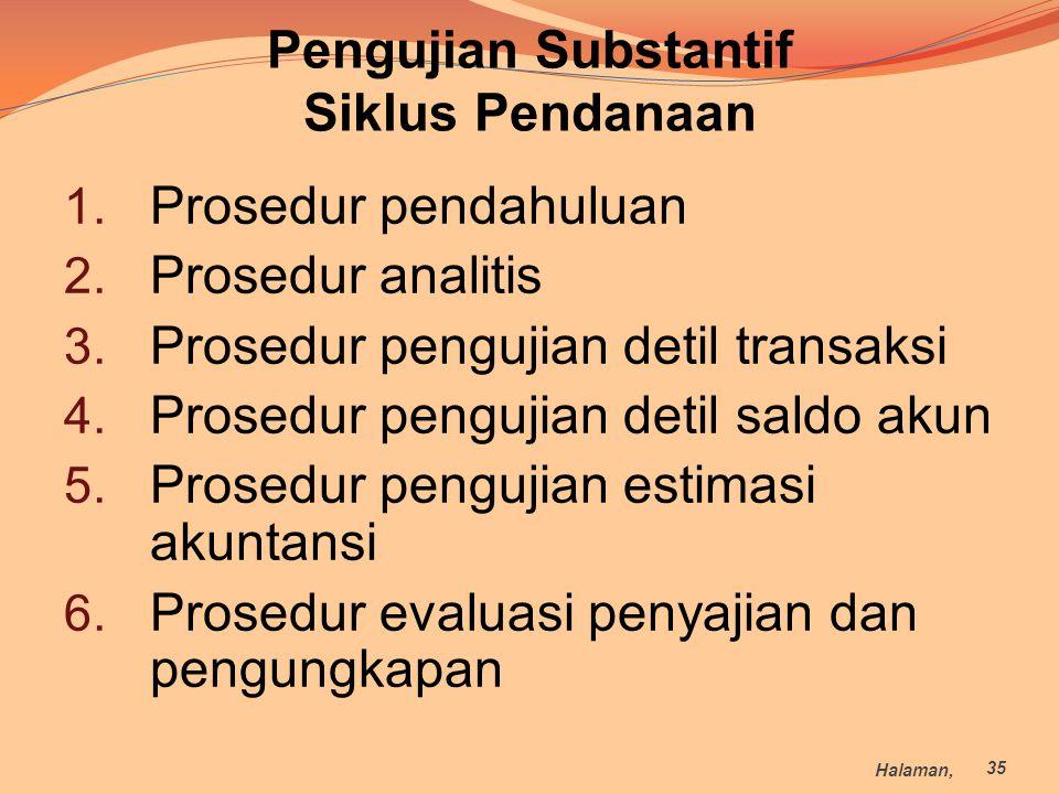1. Prosedur pendahuluan 2. Prosedur analitis 3. Prosedur pengujian detil transaksi 4. Prosedur pengujian detil saldo akun 5. Prosedur pengujian estima