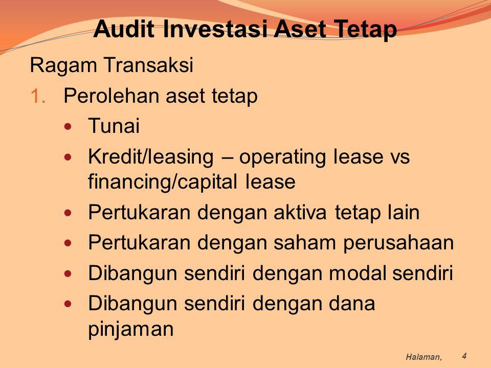 Audit Investasi Aset Tetap Ragam Transaksi 1. Perolehan aset tetap Tunai Kredit/leasing – operating lease vs financing/capital lease Pertukaran dengan