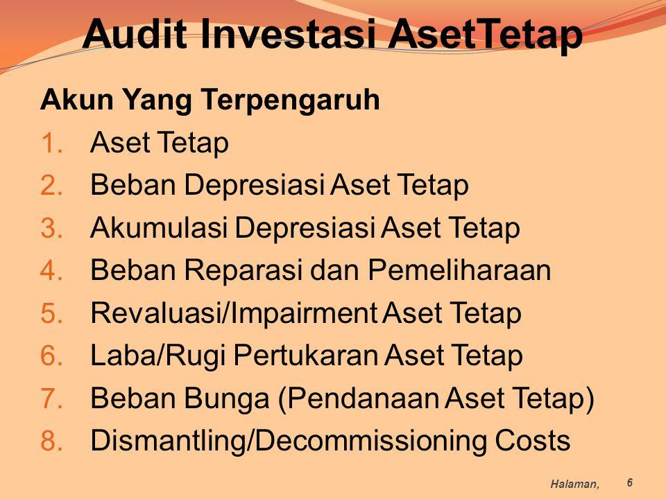 Audit Investasi AsetTetap Akun Yang Terpengaruh 1. Aset Tetap 2. Beban Depresiasi Aset Tetap 3. Akumulasi Depresiasi Aset Tetap 4. Beban Reparasi dan