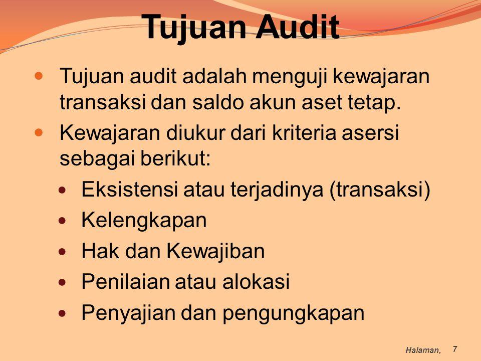 Tujuan Audit Tujuan audit adalah menguji kewajaran transaksi dan saldo akun aset tetap. Kewajaran diukur dari kriteria asersi sebagai berikut: Eksiste