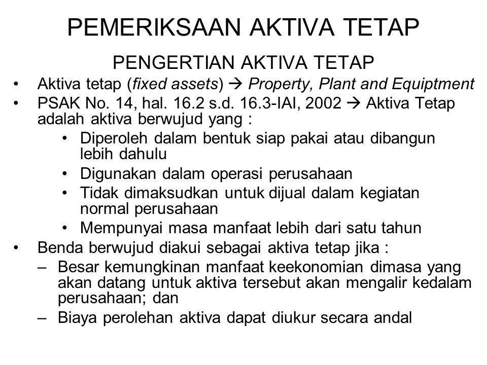 PEMERIKSAAN AKTIVA TETAP PENGERTIAN AKTIVA TETAP Aktiva tetap (fixed assets)  Property, Plant and Equiptment PSAK No. 14, hal. 16.2 s.d. 16.3-IAI, 20