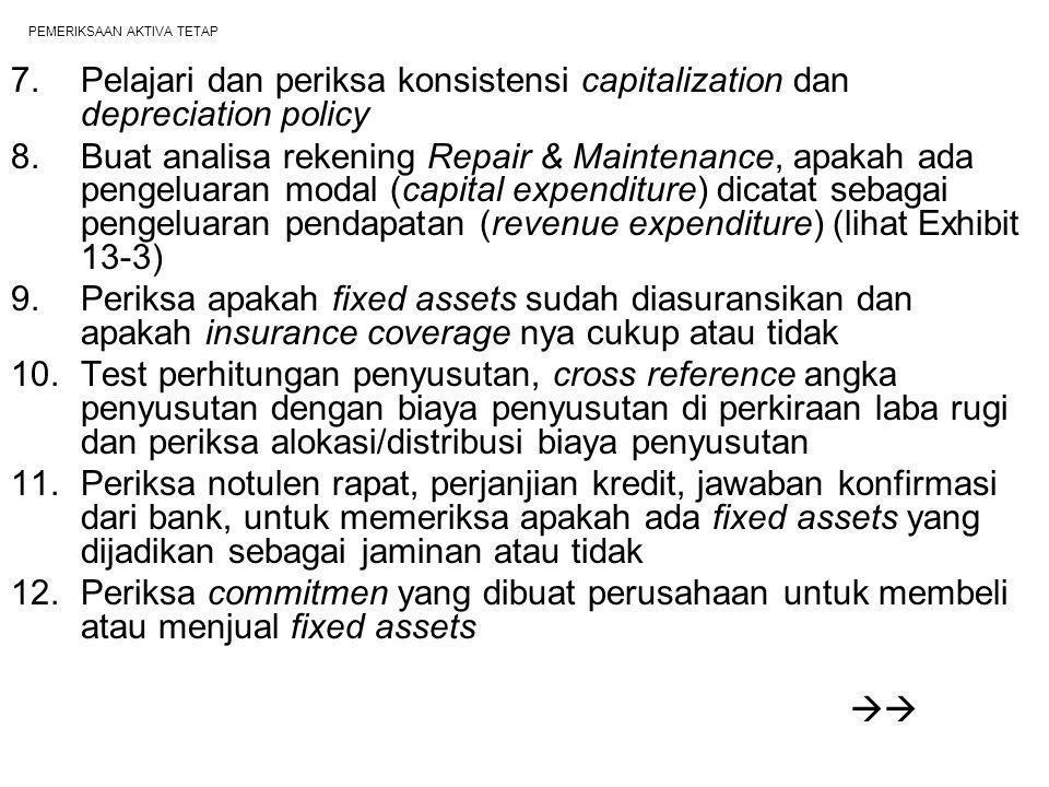 PEMERIKSAAN AKTIVA TETAP 7.Pelajari dan periksa konsistensi capitalization dan depreciation policy 8.Buat analisa rekening Repair & Maintenance, apaka