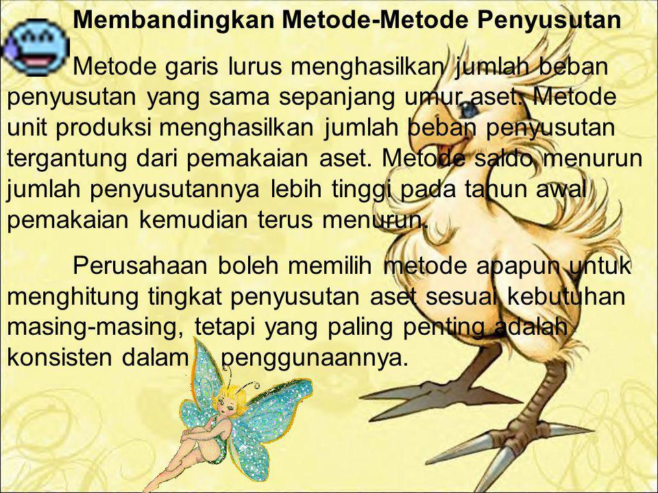 c. Metode Saldo Menurun (Declining Balance Method) Adalah metode yang menghasilkan beban periodik yang terus menurun sepanjang estimasi umur manfaat a