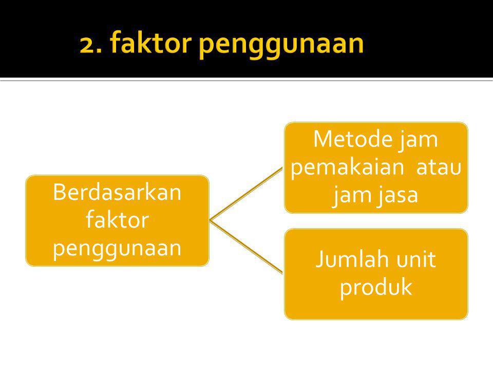 Berdasarkan faktor penggunaan Metode jam pemakaian atau jam jasa Jumlah unit produk