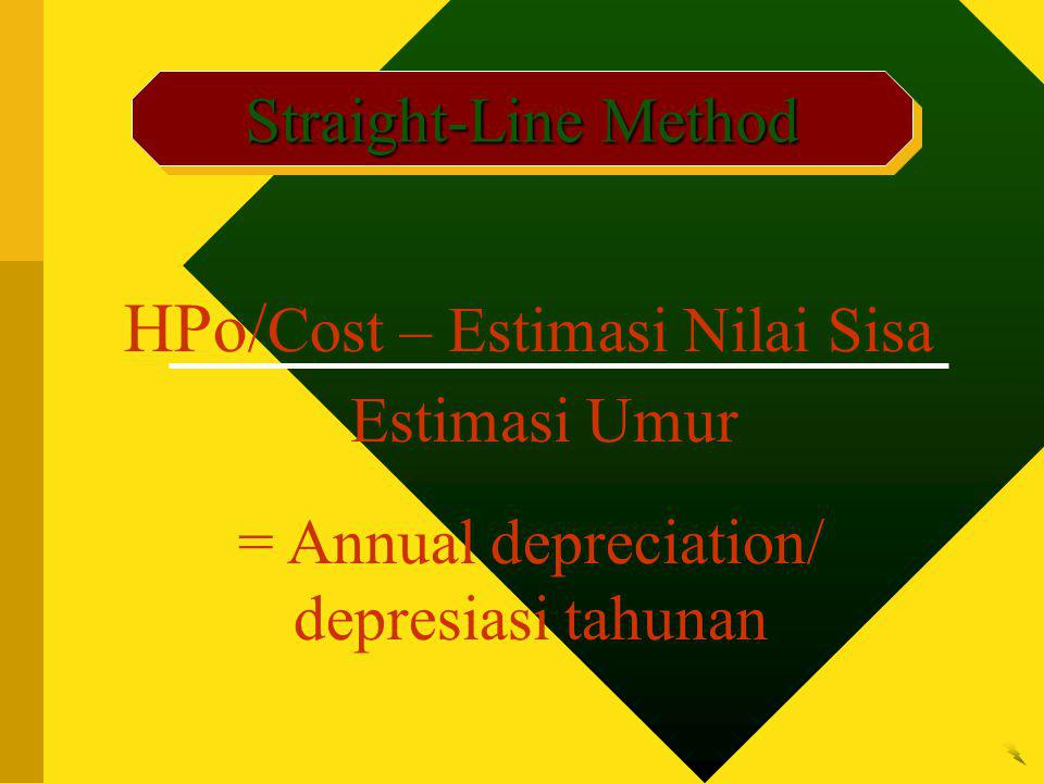 Straight-Line Method HPo/ Cost – Estimasi Nilai Sisa Estimasi Umur = Annual depreciation/ depresiasi tahunan