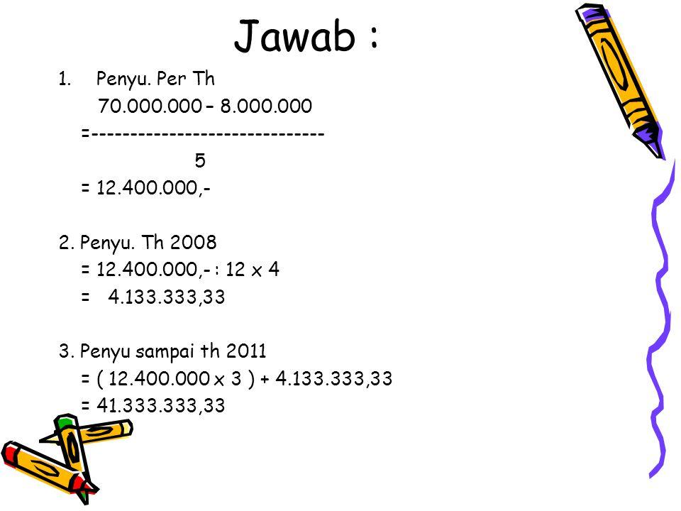 Jawab : 1.Penyu. Per Th 70.000.000 – 8.000.000 =------------------------------ 5 = 12.400.000,- 2. Penyu. Th 2008 = 12.400.000,- : 12 x 4 = 4.133.333,
