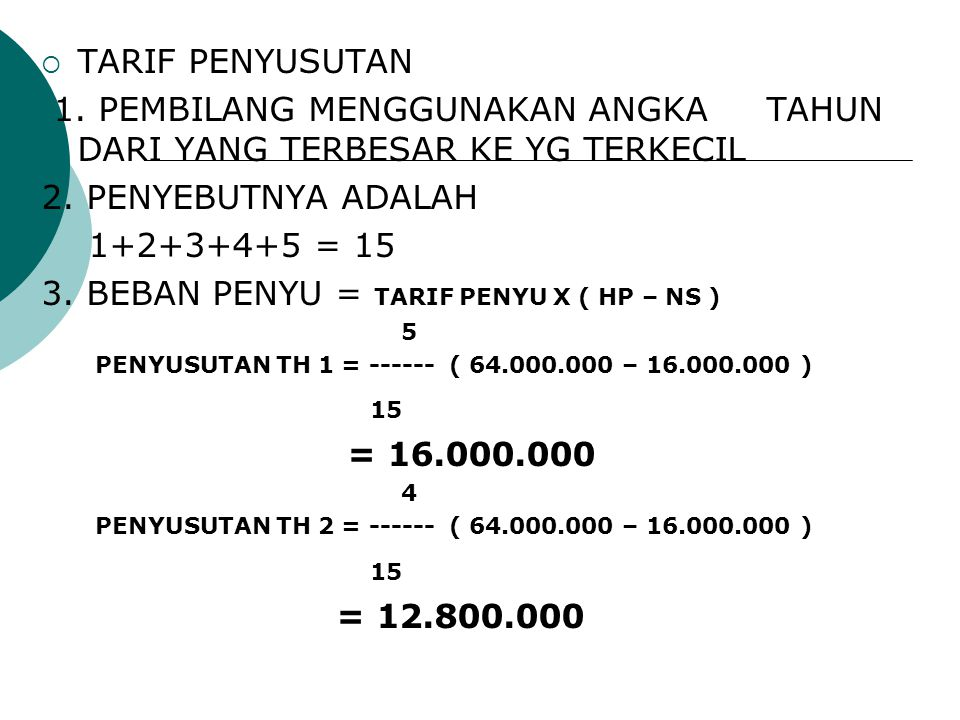  TARIF PENYUSUTAN 1. PEMBILANG MENGGUNAKAN ANGKA TAHUN DARI YANG TERBESAR KE YG TERKECIL 2. PENYEBUTNYA ADALAH 1+2+3+4+5 = 15 3. BEBAN PENYU = TARIF