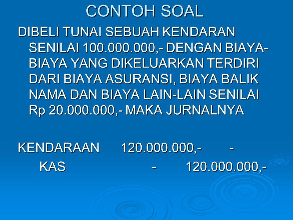 CONTOH SOAL DIBELI TUNAI SEBUAH KENDARAN SENILAI 100.000.000,- DENGAN BIAYA- BIAYA YANG DIKELUARKAN TERDIRI DARI BIAYA ASURANSI, BIAYA BALIK NAMA DAN
