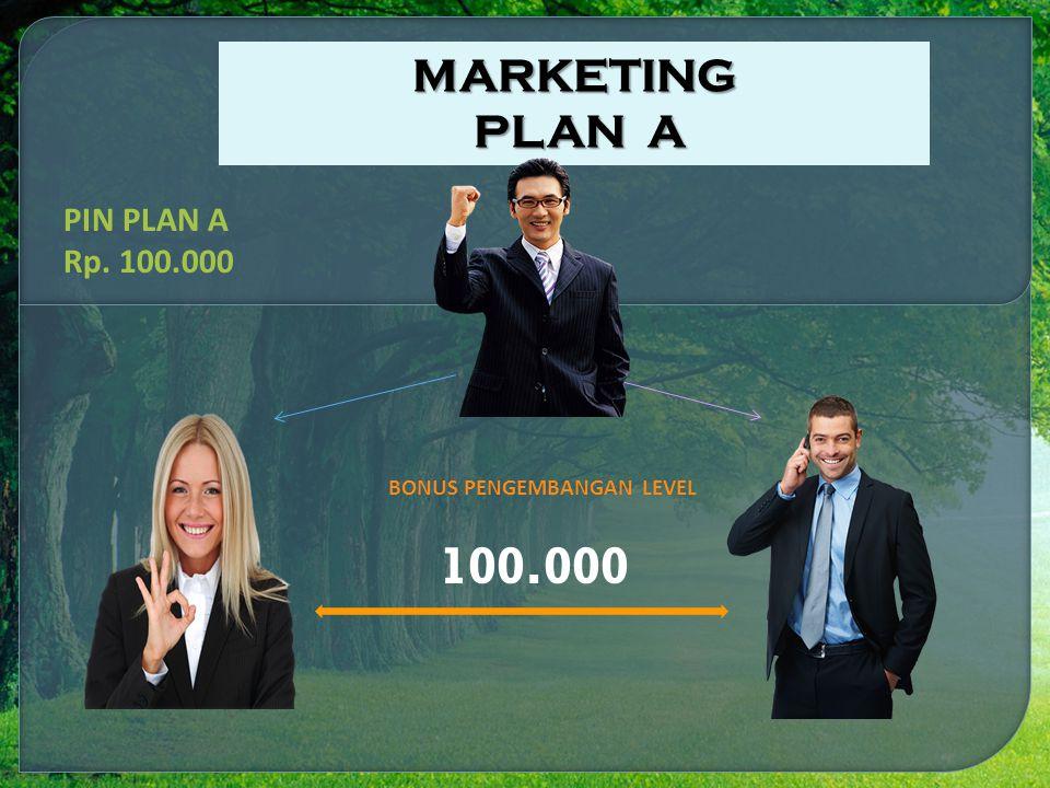 100.000 BONUS PENGEMBANGAN LEVEL PIN PLAN A Rp. 100.000 MARKETING PLAN A PLAN A
