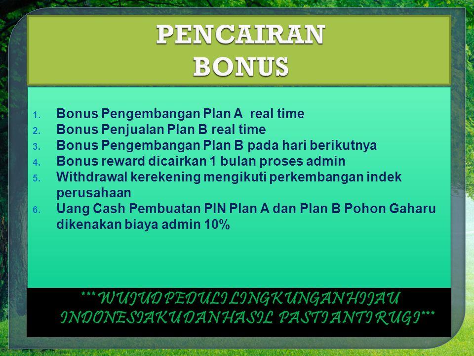 1.Bonus Pengembangan Plan A real time 2. Bonus Penjualan Plan B real time 3.