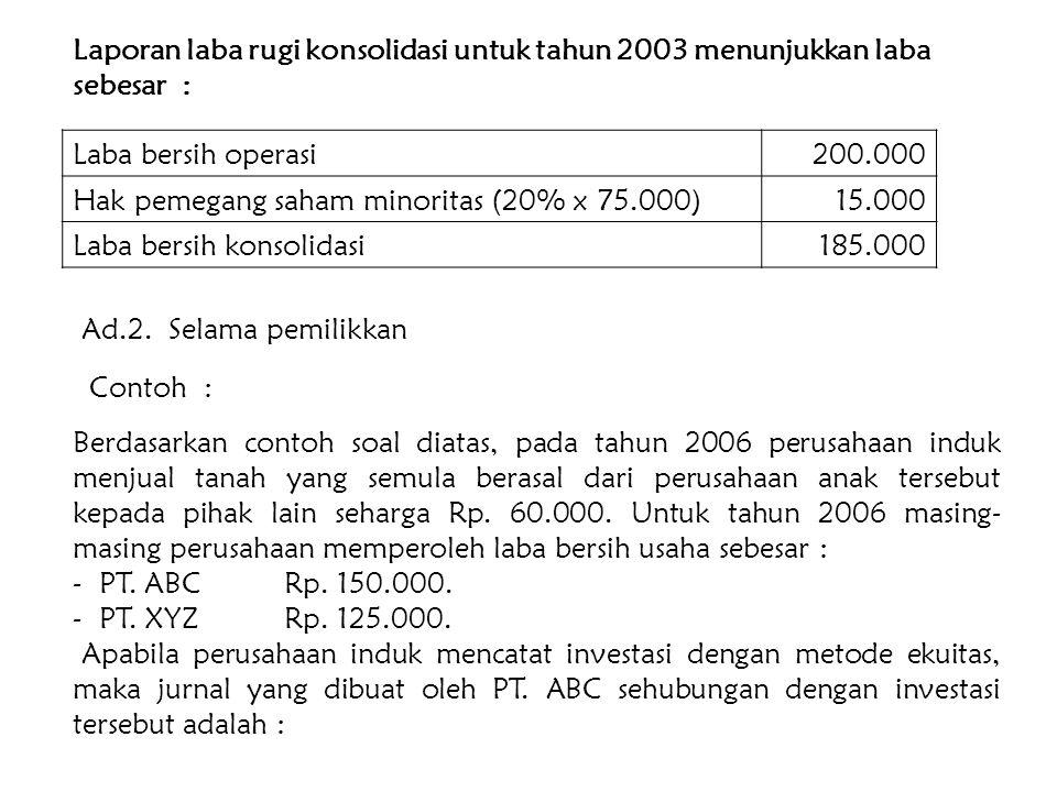 Jurnalnya : Investasi Saham PT. XYZxxx Laba dari PT. XYZxxx Dengan demikian, maka laba kedua perusahaan tersebut untuk tahun 2003 adalah KeteranganPT.