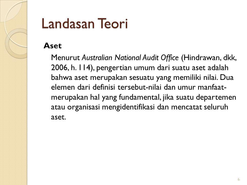 Landasan Teori Aset Menurut Australian National Audit Office (Hindrawan, dkk, 2006, h. 114), pengertian umum dari suatu aset adalah bahwa aset merupak